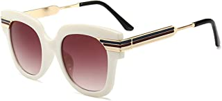 LUKEEXIN Oversized Color Strips Unisex UV Protection Sunglasses Colored Lens Outdoor Driving Travelling (Color : White)
