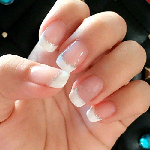 Jovono, unghie finte con brillantini, unghie finte stile french, curve (senza colla)