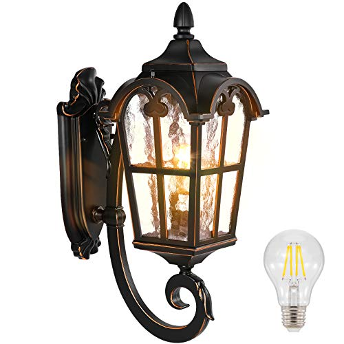PARTPHONER Outdoor Light Fixtures Wall Mount Black Roman, Waterproof Outside Porch Light Wall Sconce Lighting, Exterior Wall Lantern with Water Glass for Garage, Porch, Doorway (Bulb Included)