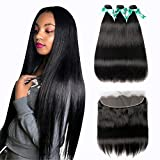 MQYQ 8A Brazilian Straight Hair 3 Bundles with Frontal (14 16 18+12 Inch), 100% Unprocessed Human Hair 13×4 Ear to Ear Lace Frontal Hair Extensions Weave Natural Black Color