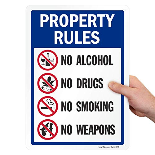"""SmartSign 14 x 10 inch """"Property Rules - No Alcohol, No Drugs, No Smoking, No Weapons"""" Metal Sign, 40 mil Laminated Rustproof Aluminum, Multicolor"""