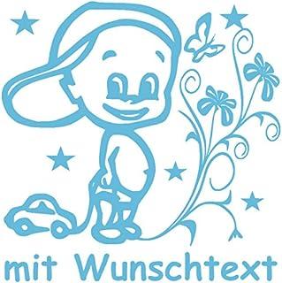 Hoffis Premium Babyaufkleber mit Name/Wunschtext Baby Kinder Autoaufkleber   Motiv 1308 (16 cm)   Farbe und Schriftart wählbar