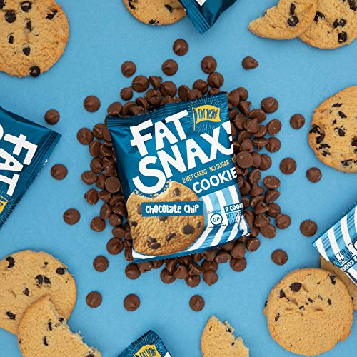 Fat Snax Cookies - Low Carb, Keto, and Sugar Free (Chocolate Chip, 6-pack (12 cookies)) - Keto-Friendly & Gluten-Free Snack Foods