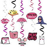 Fiupan 30Pcs Mean Girls Movie Swirls Party Decoration So Fetch Burn Book You Go Glen Coco I'm a Mouse Duh Double Sided Printing Hanging Spirals Whirl Décor for Ceilings Walls Windows Courtyard Garden