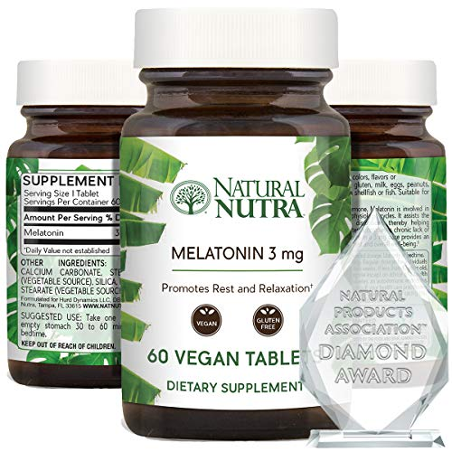 Natural Nutra Vegan Melatonin 3mg, Sleep Supplement, Balanced Hormone Levels, Anxiety, Stress Relief, Healthy Aging, Quick Release Sleeping Pill for Optimal Rest and Relaxation, Gluten Free, 60 Tablets