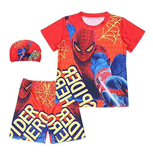MYYLY Enfants Maillots De Bain Spiderman 3 Pièces Été Séchage Rapide Garçon Maillot Plage Nouveauté Combinaison Protection UV Voyage Surf,Red-S Kids (105~115CM)