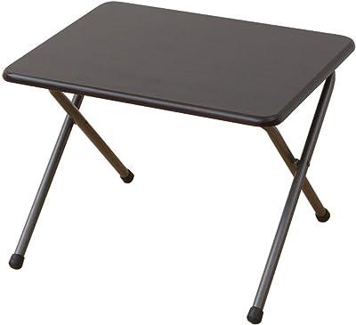 [山善] サイド テーブル(折りたたみ) 幅50×奥行44×高さ35cm ミニ ロータイプ 傷がつきにくい 完成品 ダークブラウン/ブラウン YST-5040L(MBR/MBR) 在宅勤務