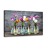 Canvas Wall Art for Living Room, Tulip Flower in Glass Bottle Painting Print on Canvas for Spa Office Bathroom Master Bathroom Dining Room Wall Decoration Modern Floral Vase Pictures Canvas Artwork