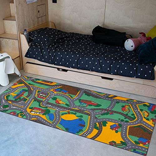 Carpet Studio Alfombra Carretera 95x200cm, Alfombra Infantil para Dormitorio & Cuarto de Jugar, Lavable a Máquina, Fácil de Limpiar, Anti-Deslizante - Playtime