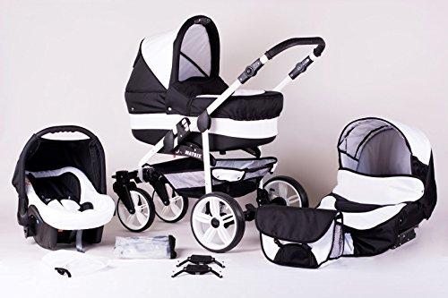 Matrix Modernes Travelsystem Kinderwagen Babywagen Buggy Kinderwagen System + Wickeltasche + Regenschutz + Insektenschutz (3in1 (inkl. Babyschale), schwarz-weiß)