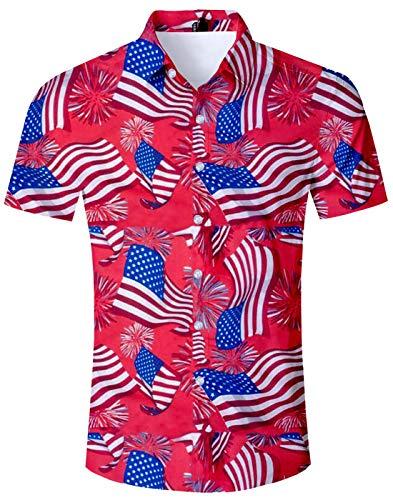 Fanient Men America Flag Hawaiian Shirt Patriotic Button Down Shirts Summer Print Short Sleeves Aloha Shirts Vacation Beach Cothing XXL