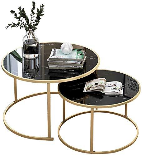 Akelizeng Mesa de café Modern (2 Piezas), se Puede anidar en una Mesa de Metal de Oro con MDF Superior,Black-60CM