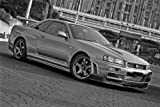 Driver Motorsports Nissan R34 GTR GT-R Skyline NISMO Black and White Right Front HD Poster Super Car 18 X 12 Inch Print