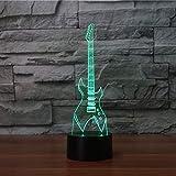 Lumières De Nuit 7 Couleurs Changeantes 3D Lampe De Table Led Guitare Électrique Instruments De Musique Veilleuse Chambre Éclairage Décor À La Maison Musique Cadeaux