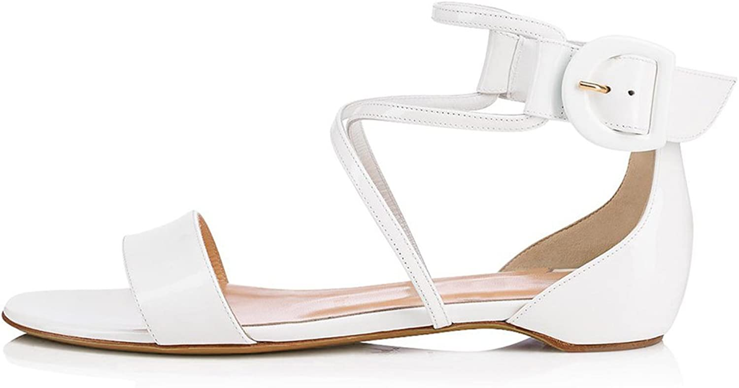 Women's Cross Belt Bag with Flat Sandals for A Relaxing Holiday Casual One-Word shoes White Sandals