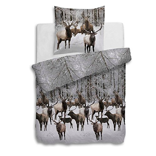 Heckett & Lane Flanell Biber Bettwäsche Ralph I Göße 135x200 80x80cm I Farbe Taupe I Design Winterlandschaft  Winterwald Hirsch Deer Rentier Reindeer