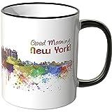 WANDKINGS® Tasse, Schriftzug Good Morning New York! mit Skyline - SCHWARZ