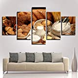 TBDZPS 5 Panel Wandkunst Bilder Home Decoration Poster Brot