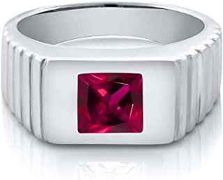 Red Created Ruby 925 Sterling Silver Men's Ring 1.71 cttw 7mm Princess Cut Center (Available 8,9,10,11,12,13)