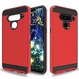 Wtiaw for:LG V50 ThinQ Case,LG V50 Case,LG V50 Phone Cases,LG V50 ThinQ Phone Cases,[TPU+PC Material] [Brushed Metal Texture] Hybrid Dual Layer Defender Case for LG V50-CL Red