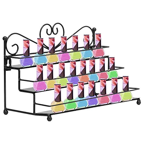 AIFUSI Nail Polish Holder, 3 Tier Nail Polish Rack Metal Makeup Organizer Shelf Mountable Essential Oils Perfume Display Storage,Tabletop Counter Display, Wall Hang or Place Decorative