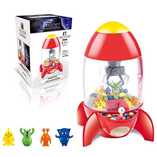 HOMCOM Candy Grabber fusée - Machine Attrape à Bonbons - Machine à Pince - Jeu de Griffe - 8 Figurines incluses - fête foraine Anniversaire - Effets Lumineux & sonores