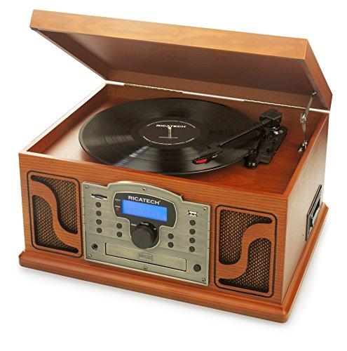 Ricatech RMC250 Deluxe 7 in 1 Music Center mit Aufnahmefunktion, Bluetooth-Konnektivität, 3 Geschwindigkeiten und eingebauten Stereolautsprechern, CD- und Kassettenspieler, AM/FM Radio und Line-In