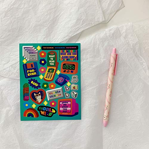BLOUR Pegatinas Bonitas Retro de Dibujos Animados Coreanos, Etiquetas Impermeables, publicarlo, teléfono móvil, Tableta, PC, Adhesivo Decorativo Creativo DIY, papelería