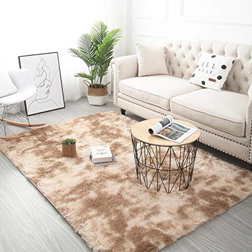 Grijze tapijt tie verven pluche zachte tapijten voor de woonkamer slaapkamer antislip vloermatten slaapkamer wateropname tapijt tapijten, kaki, 50x160cm