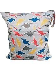 JUNGEN Bolsa de pañales reutilizable para Bebé Cambio de bolsa de pañales Bolsa de pañales de animales de dibujos animados Bolsa de pañales impermeable con Diseño de doble cremallera (Dinosaurio)