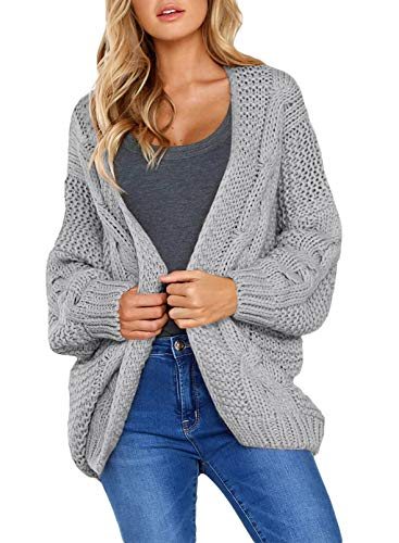 Aleumdr Strickjacke Damen Grobstrick Strickmantel Strickcardigan Damen Herbst Winter Casual Open Front Sweater Cardigan Cover up Patchwork Outwear S-XXL, Grau, Medium (EU38-EU40)