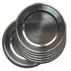JPF - Platzteller Rund - Set von 6 Stück - Edelstahl - Silber - Ø 32 cm - Silber