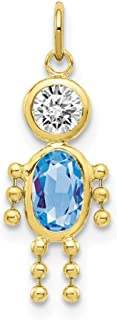 10k Yellow Gold March Boy Birthstone Pendant Charm Necklace Kid Fine Jewelry For Women