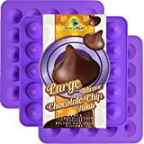 Large Chocolate Chip Mold Silicone 3 Pack - Kisses Shaped Silicone Molds ~ Big Chocolate Kiss Shape - Make 75 Kisses with These Candy Molds ~ Make Non Dairy & Sugar Organic