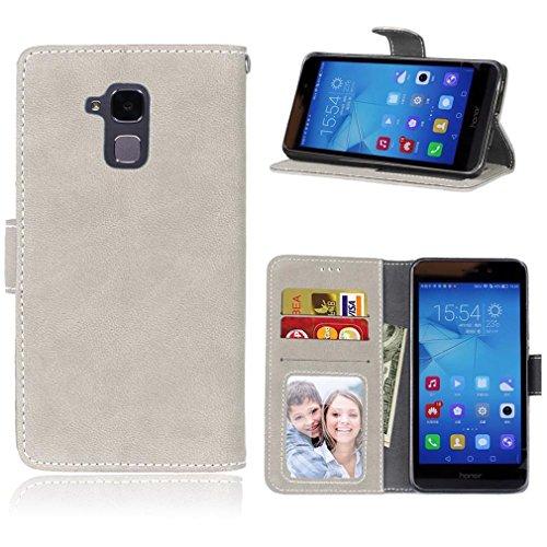 LMAZWUFULM Hülle für Honor 5C / Honor 7 Lite/Huawei GT3 (5.2 Zoll) PU Leder Magnet Brieftasche Lederhülle Gefrostet Design Standfunktion Ledertasche Flip Cover Reis-weiß