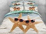 LifeisPerfect JF-007 3D HD Digital Print Kawaii Starfish Edredón Cubrir Conjunto Kids Cama Individual Ropa de Cama Ropa de Cama Queen Cal mar Estrella con Gafas de Sol