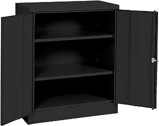 Sandusky Lee RTA7001-09 Black Steel SnapIt Counter Height Cabinet, 2 Adjustable Shelves, 42