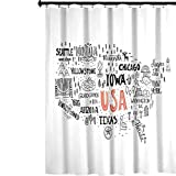 YUAZHOQI - Cortina de ducha de tela, diseño de tipografía de Estados Unidos de América con concepto de figuras locales, cortina de ducha impermeable con ganchos, 182,88 x 182,88 cm, gris coral...