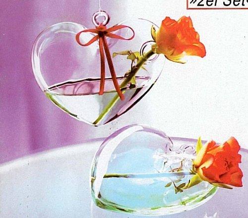My Home 2er Set Glas-Herzvasen