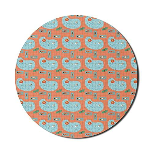 Summer Mouse Pad für Computer, Tropical Vacation Theme Girls in Badebekleidung Sonnenbaden und Schwimmen Pool Doodle Print, rundes rutschfestes dickes Gummi Modern Gaming Mousepad, 8 'rund, mehrfarbig