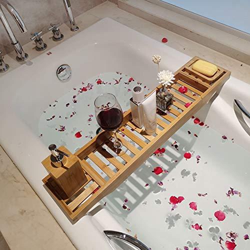 DHHZRKJ Bandeja para bañera, Bandeja de bambú para bañera para baño de Lujo, Soporte multifunción para Libro de teléfono Celular y Soporte para Copa de Vino para SPA