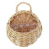 Mimbre Rattan Macetas con el plástico de la guarnición colgantes cesta de la flor natural hecho a mano montado en la pared Maceta cesta Nido contenedor de almacenamiento para el hogar decoración de la