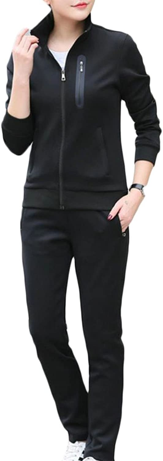 Cromoncent Women Long Sleeve Fullup Tops Pants 2 Pcs Casual Active Tracksuits