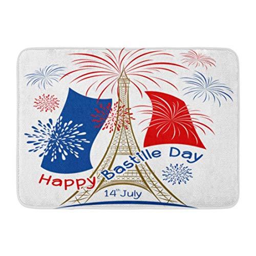 Fußmatten Bad Teppiche Outdoor/Indoor Fußmatte Blue Eiffel 14. Juli Bastille Day Paris Feuerwerk und Frankreich Flagge auf Red Tower Badezimmer Dekor Teppich Badematte