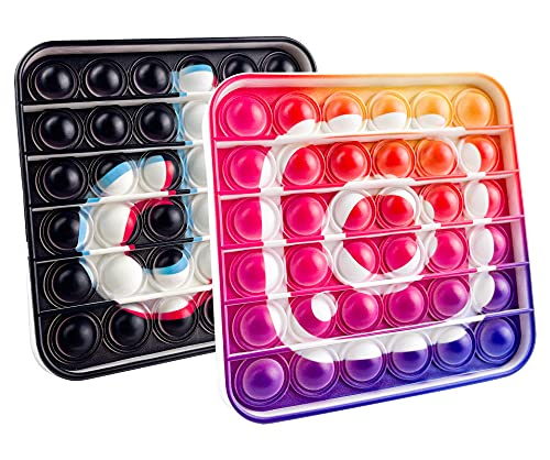 2PCS Pop Tik Ins Bubble Its Push Agitarsi Tok Giocattolo, Giochi Sensoriali Sensory Toy Silicone Spremere Gadget Fatica Ansia Sollievo Antistress Regalo(tik-tok & ins1)