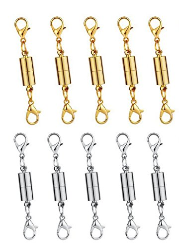 ZYMY 10 Pieces Magnetic Lobster Clasp Jewelry Necklace Bracelet (5 Gold + 5 Silver)