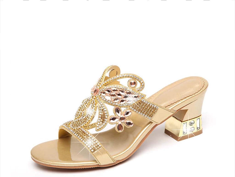 HRN Frauensandalen aus Strass-Leder mit mittelhohem Absatz und Diamanten sowie eleganten Sandalen und Hausschuhe für den Sommer,Gold,36EU  | Lass unsere Waren in die Welt gehen  | Qualitätskönigin