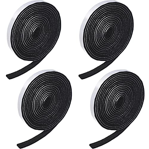 4 Rolls 1/2 x 120 Inch Self-Stick Heavy Duty Felt Strips Self Adhesive Felt Tapes Polyester Felt Strip Rolls for Protecting Furniture and Freedom DIY Adhesive, 480 x 0.5 x 0.12 Inches (Black)