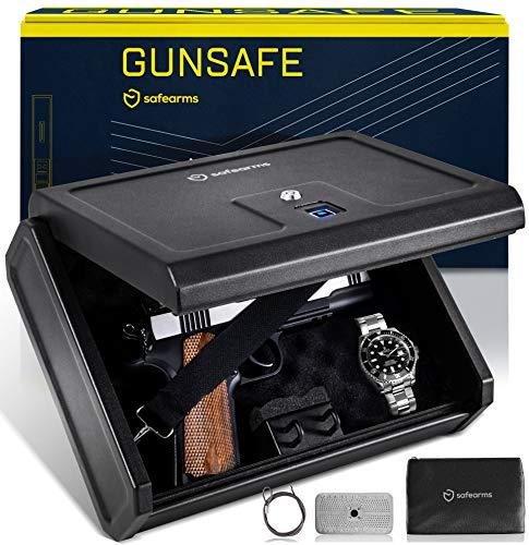 Biometric Gun Safe Gun Safes for Pistols Pistol Safe Quick Access Biometric Handgun Safe for Nightstand Biometric Safe Fingerprint Gun Safe for Pistols