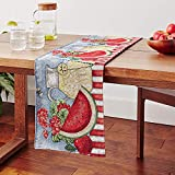 Tache Home Fashion Fruity Drinks Colorful Watermelon Lemonade Decorative Spring Summer Purple Woven Tapestry Table Runners, 13x90, Blue